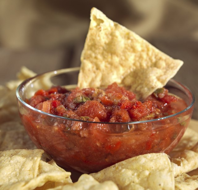 Salsa and tortilla chips.