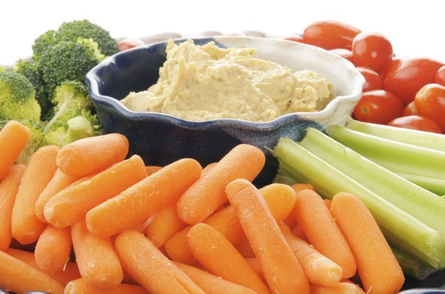 Hummus and vegetables.