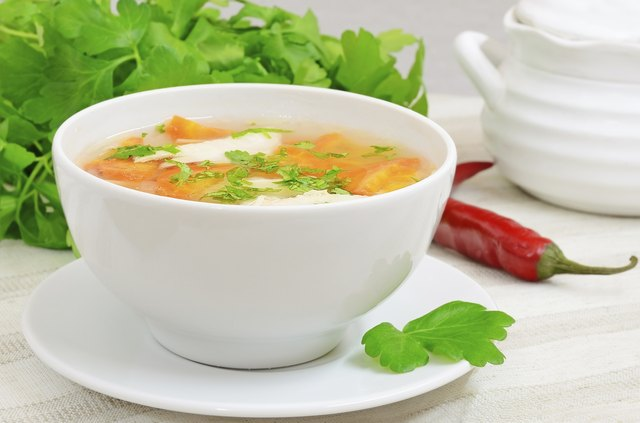 Eat soup and broth instead of frozen food.