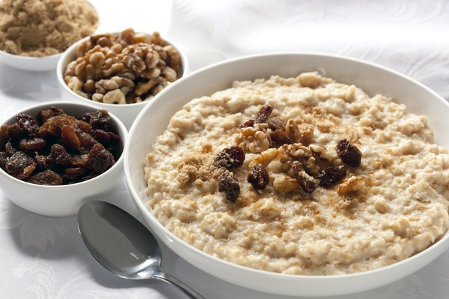 Oatmeal topped with a couple of raisins and nuts
