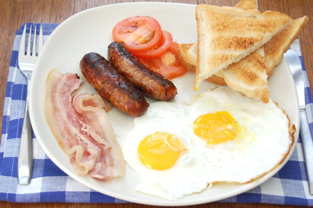 Animal based foods like bacon, pork sausage and butter have a high saturated fat content.