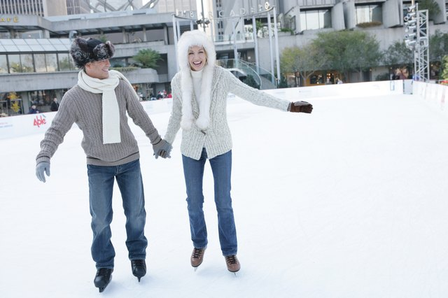 Couple ice skating