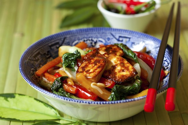 Stir fry vegetables with tofu.