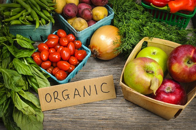 Organic fruit and vegetables at farmer's market