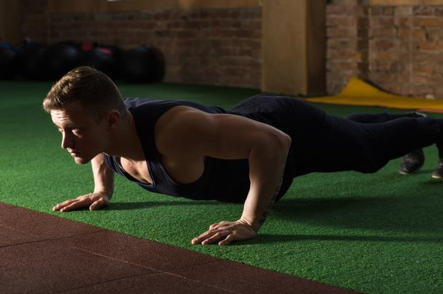 Keep your abs taut and your elbows in during a push-up.