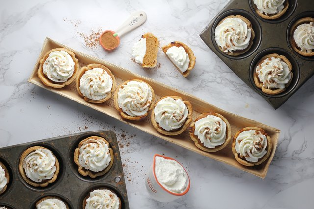 Individual servings, like these mini pumpkin pies, help keep portions under control.
