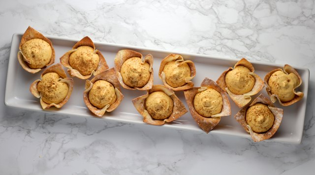 Wonton cups are an unexpectedly delightful way to serve individual portions of this pumpkin mousse.
