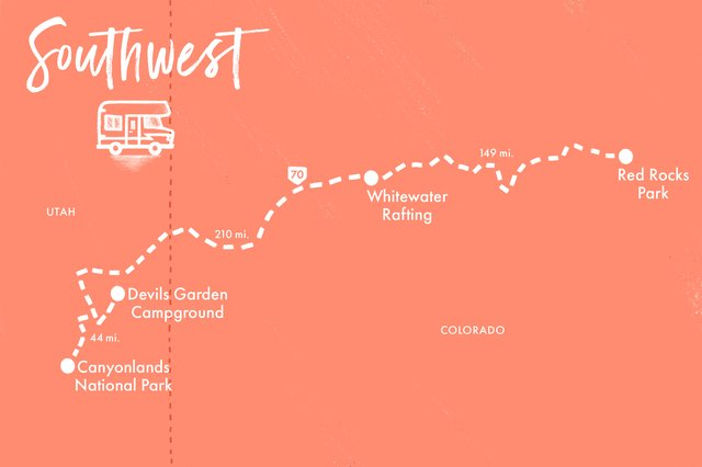 Mountain bike, river raft and hike through this Southwest adventure road trip.