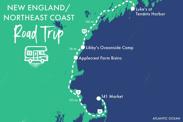 Fresh mouthwatering lobster and vegan baked goods are just some of the foods you'll taste on a road trip along New England's coastline.