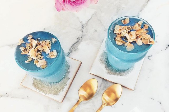 The spirulina in this blueberry breeze smoothie gives it a gorgeous pop of blue.