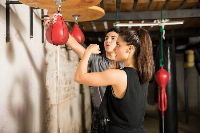 Punching a speed bag improves hand-eye coordination.