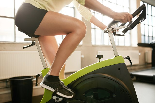 The exercise bike lets you work your legs without much impact to your knees.