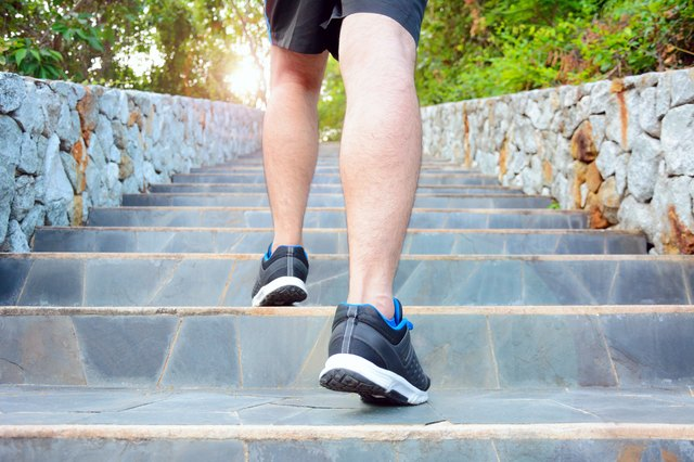 Walking up stairs will condition your legs and spare your knees.