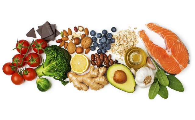 A healthy diet emphasizes lean animal protein and lots of whole grains, fruits and vegetables.