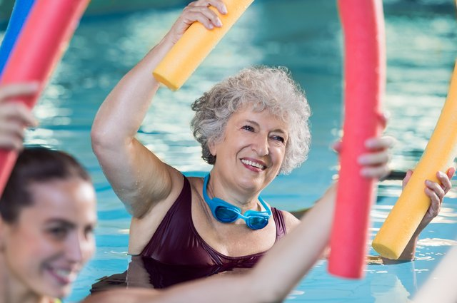 Water aerobics strengthen the heart, lungs and muscles.
