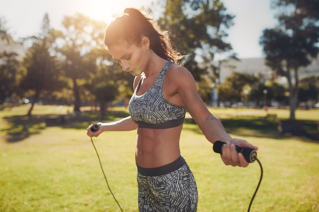 Jumping rope helps warm your body up and improves foot speed.