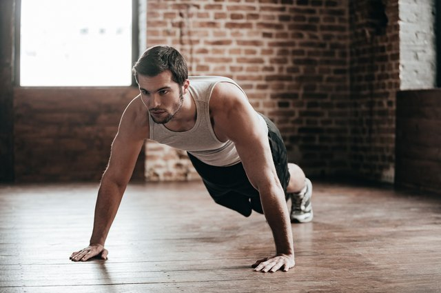 Push-ups are a standard chest building exercise.