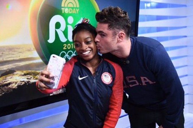 Zac Efron Surprises Olympian Simone Biles in Rio -- Insane Cuteness Ensues