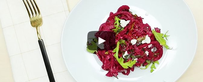 How to Make Vibrant Beet Linguine With Goat Cheese and Arugula