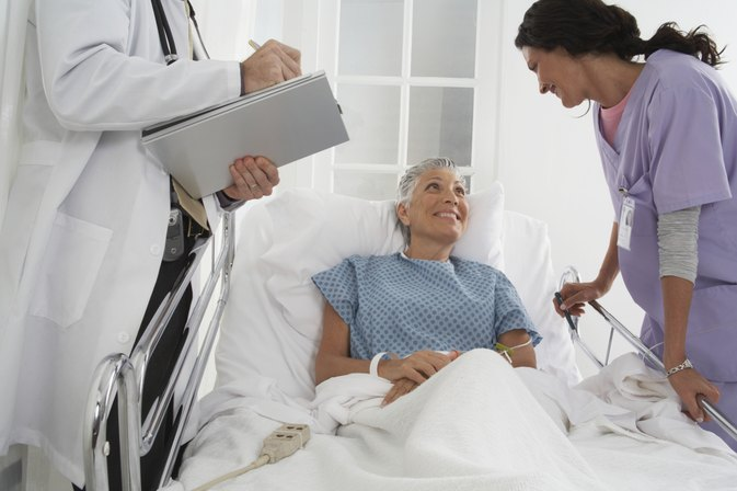 Lung Cancer Patient In Hospital Bed