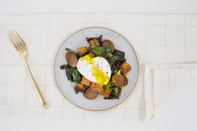 Sweet Potato, Chard and Turkey Sausage Hash With Eggland's Best Eggs