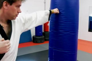 Karate Exercises With a Punching Bag