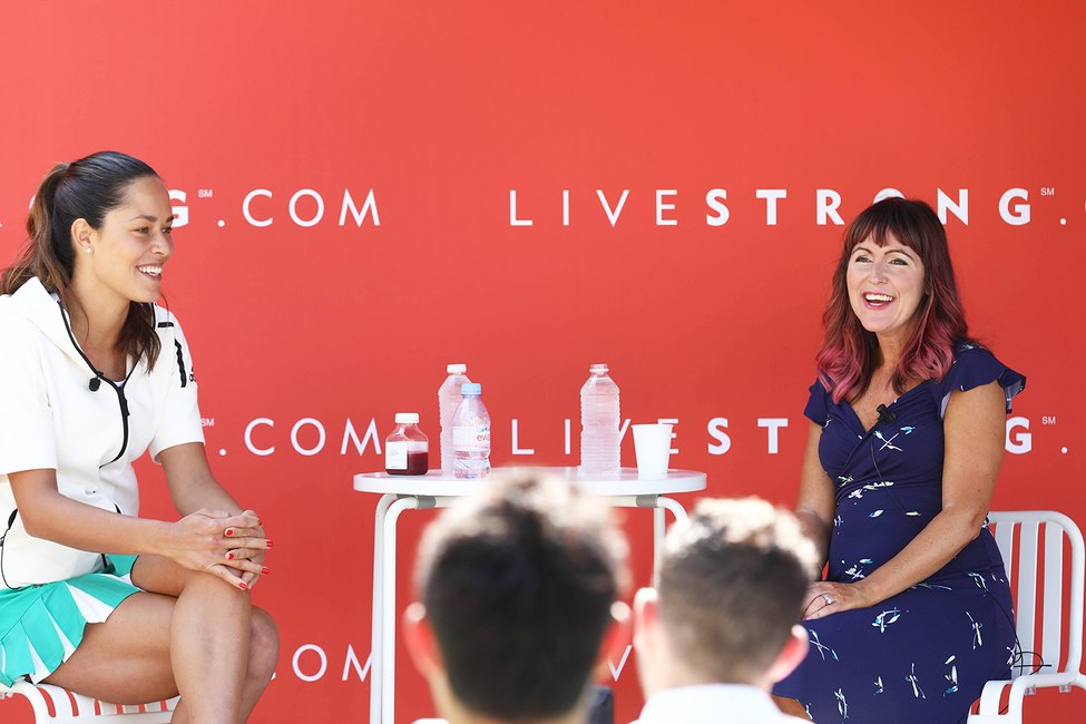 Ana Ivanovic and LIVESTRONG VP and GM Jess Barron chat together in Cannes, France.