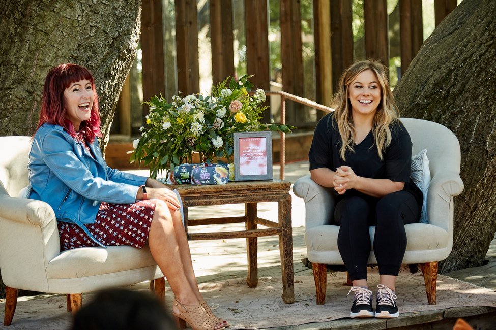 Olympian Shawn Johnson interviews with LIVESTRONG.COM General Manager Jess Barron at an event at Calamigos Ranch, Malibu, CA