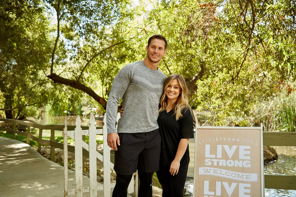 Olympian Shawn Johnson and her husband NFL player Andrew East at the LIVESTRONG.COM event at Calamigos Ranch, Malibu, CA