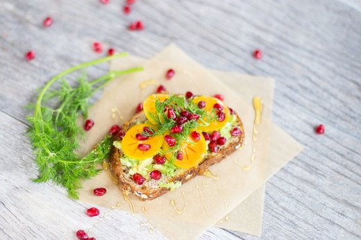 9. Persimmon and Pomegranate Avocado Toast