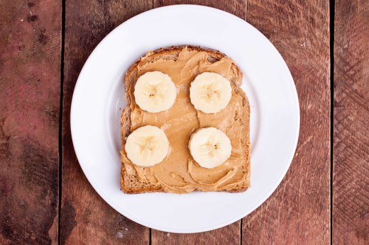 9. Whole Wheat Toast with Banana and Nut Butter