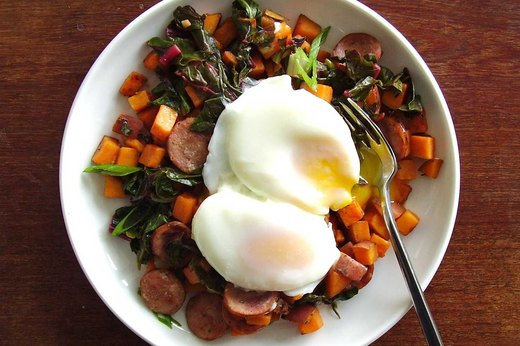 1. Sweet Potato, Chard and Turkey Sausage Hash With Eggs