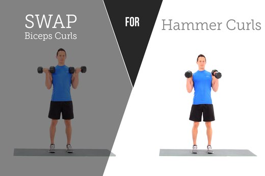 1. SWAP OUT: Traditional Biceps Curls FOR: Hammer Curls