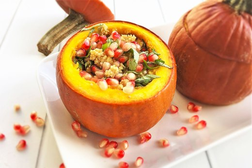 5. Stuffed Pumpkin With Herbed Quinoa and Pomegranate Arils