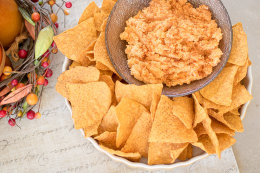 9. Sweet Potato Dip and Pumpkin Chips