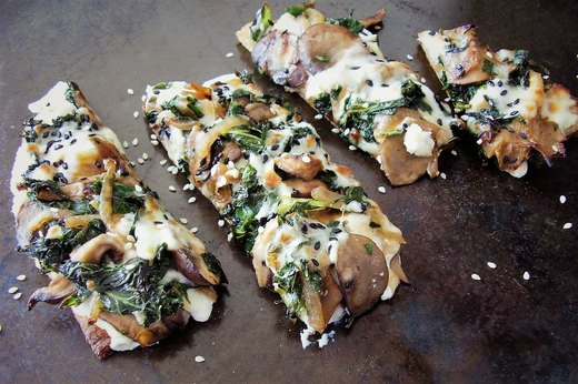 2. Kale and Wild Mushroom Flatbread Pizza