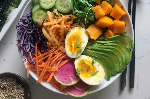 Grain Bowl With Soft-Boiled Eggs