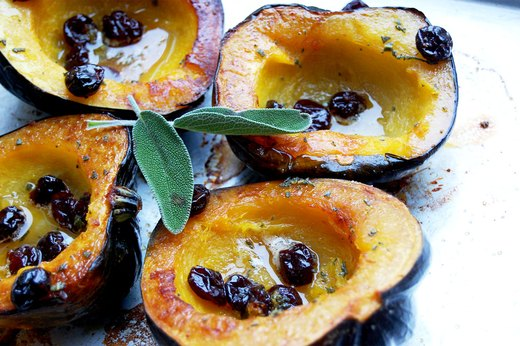1. Roasted Acorn Squash With Honey Butter and Dried Cherries