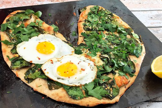 1. Heart-Shaped Florentine Pizza With Eggs