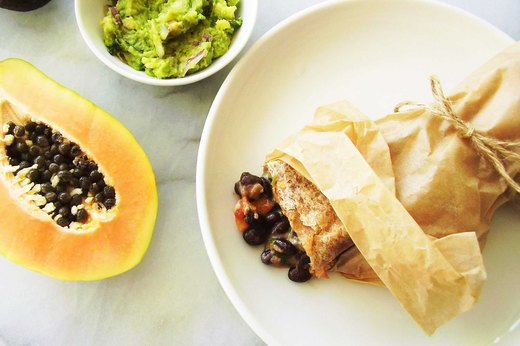 1. Tropical Black Bean, Cheese and Papaya Burrito