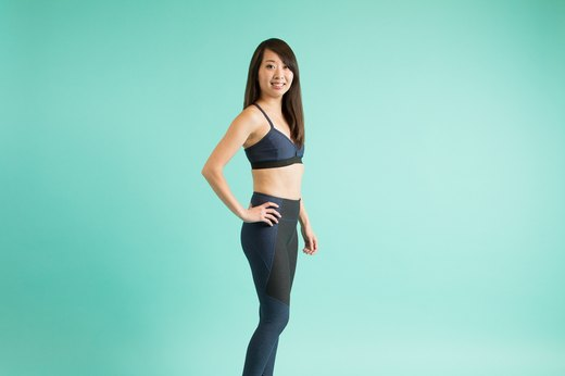 9. Outdoor Voices Two-Tone Warmup Leggings & Steeplechase Bra