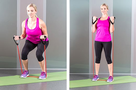 3. Squats and Bicep Curls With Resistance Band