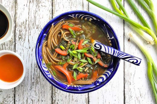 1. Healthy Asian Veggie and Soba Noodle Soup
