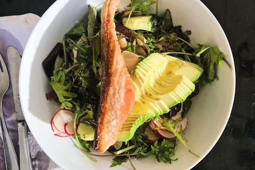 1. Arugula With Salmon and Avocado BAS