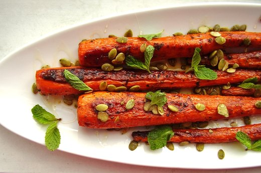 5. Roasted Carrots With Pumpkin Seeds and Mint
