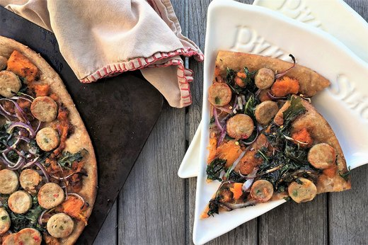 1. Spicy Squash, Greens and Turkey Sausage Pizza