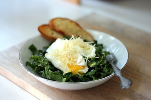 Kale Caesar With Poached Eggs