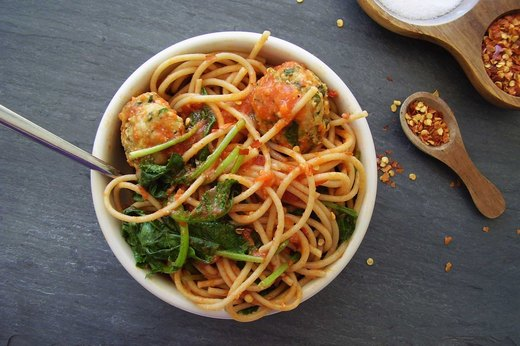 3. Power Pasta Bowl With Turkey-Kale Meatballs