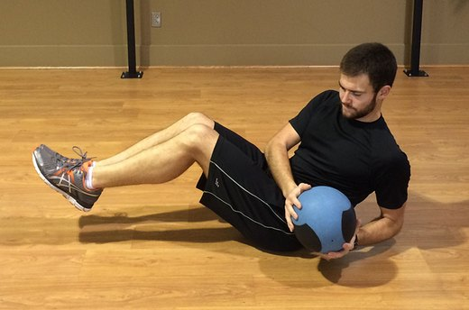Crunch Variation #2: Mason Twists With a Medicine Ball