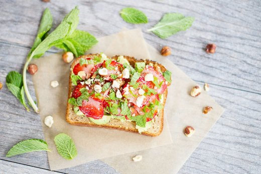 10. Strawberry and Mint Avocado Toast